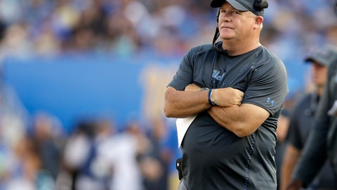 <p>               FILE - In this Sept. 1, 2018, file photo, UCLA head coach Chip Kelly watches during the first half of an NCAA college football game against Cincinnati, in Pasadena, Calif. If the Bruins couldn't handle Cincinnati in the Rose Bowl last week, can't expect them to be ready to compete with the Sooners. (AP Photo/Marcio Jose Sanchez, File)             </p>