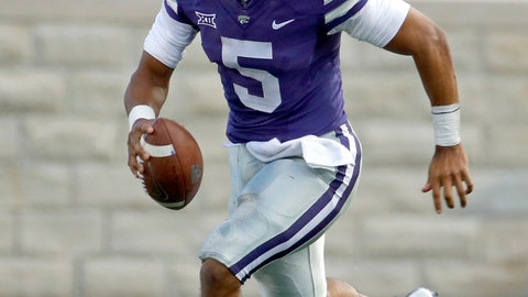 <p>               Kansas State quarterback Alex Delton (5) runs the ball for a first down during the first half of an NCAA college football game against South Dakota Saturday, Sept. 1, 2018, in Manhattan, Kan. (AP Photo/Charlie Riedel)             </p>