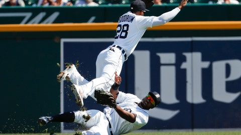 <p>               Detroit Tigers left fielder Christin Stewart, bottom, makes the catch on a Houston Astros' Evan Gattis fly ball as shortstop Niko Goodrum (28) collides with him in the second inning of a baseball game in Detroit, Wednesday, Sept. 12, 2018. (AP Photo/Paul Sancya)             </p>