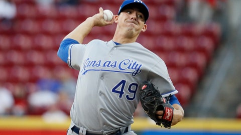 <p>               Kansas City Royals starting pitcher Heath Fillmyer throws during the first inning of the team's baseball game against the Cincinnati Reds, Wednesday, Sept. 26, 2018, in Cincinnati. (AP Photo/John Minchillo)             </p>