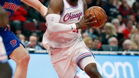 <p>               FILE - In this April 11, 2018 photo, Chicago Bulls forward David Nwaba (11) looks to pass against the Detroit Pistons during the second half of an NBA basketball game in Chicago. The Cavaliers continued their post-LeBron James makeover, signing free agent guard Nwaba to a one-year contract.  Nwaba's deal is for the veteran's minimum of $1.5 million. (AP Photo/Jeff Haynes, File)             </p>