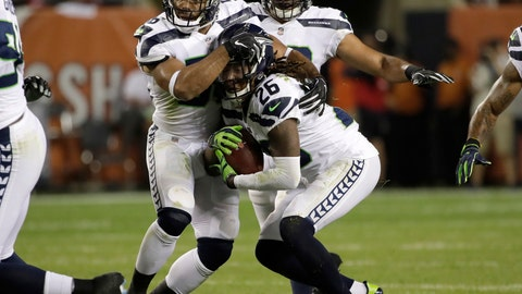 <p>               Seattle Seahawks cornerback Shaquill Griffin (26) intercepts a pass during the first half of an NFL football game against the Chicago Bears Monday, Sept. 17, 2018, in Chicago. (AP Photo/Nam Y. Huh)             </p>