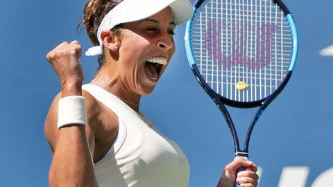 <p>               Madison Keys reacts after defeating Dominika Cibulkova, of Slovakia, during the fourth round of the U.S. Open tennis tournament, Monday, Sept. 3, 2018, in New York. (AP Photo/Carolyn Kaster)             </p>