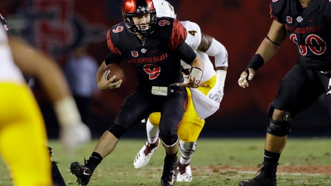<p>               San Diego State quarterback Ryan Agnew runs with the ball during the first half of an NCAA college football game against Arizona State, Saturday, Sept. 15, 2018, in San Diego. (AP Photo/Gregory Bull)             </p>