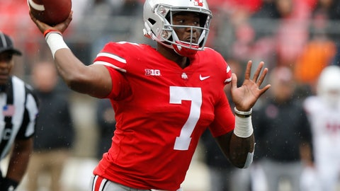 <p>               Ohio State quarterback Dwayne Haskins drops back to pass against Rutgers during the first half of an NCAA college football game Saturday, Sept. 8, 2018, in Columbus, Ohio. (AP Photo/Jay LaPrete)             </p>