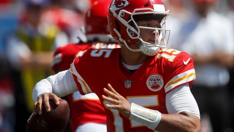 <p>               Kansas City Chiefs quarterback Patrick Mahomes passes against the Los Angeles Chargers during the first half of an NFL football game Sunday, Sept. 9, 2018, in Carson, Calif. (AP Photo/Jae C. Hong)             </p>