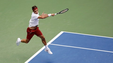 <p>               Roger Federer, of Switzerland, returns a shot to Benoit Paire, of France, during the second round of the U.S. Open tennis tournament, Thursday, Aug. 30, 2018, in New York. (AP Photo/Kevin Hagen)             </p>