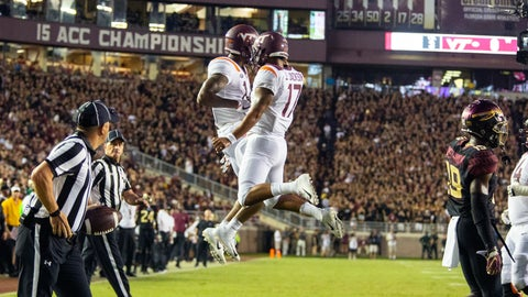 <p>               Virginia Tech Hokies wide receiver Damon Hazelton, left, and quarterback quarterback Josh Jackson (17) celebrate a touchdown on their first drive against Florida State during an NCAA college football game in Tallahassee, Fla., Monday, Sept. 3, 2018. (AP Photo/Mark Wallheiser)             </p>
