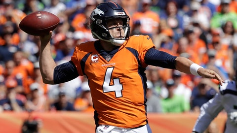 <p>               Denver Broncos quarterback Case Keenum throws a pass during the first half of an NFL football game against the Seattle Seahawks, Sunday, Sept. 9, 2018, in Denver. (AP Photo/Jack Dempsey)             </p>