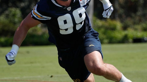 <p>               FILE - In this July 29, 2018, file photo, Los Angeles Chargers' Joey Bosa runs a drill during NFL football practice, in Costa Mesa, Calif. The Chargers could have one of the NFL's top defenses led by Joey Bosa and Melvin Ingram. The elite pass-rushing duo has combined for 41 1/2 sacks over the last two seasons. (AP Photo/Jae C. Hong, File)             </p>