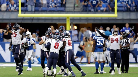 <p>               Houston Texans kicker Ka'imi Fairbairn (7) celebrates with teammates after kicking the game winning field goal during overtime of an NFL football game against the Indianapolis Colts, Sunday, Sept. 30, 2018, in Indianapolis. Houston won 37-34. (AP Photo/Darron Cummings)             </p>