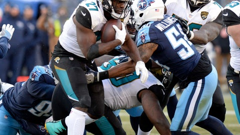 <p>               FILE - In this Dec. 31, 2017, file photo, Jacksonville Jaguars running back Leonard Fournette (27) runs the ball against Tennessee Titans inside linebacker Avery Williamson (54) in an NFL football game in Nashville, Tenn. The Titans were the NFL's best at stopping the run over the past two years, but through two games, they're struggling to stop anyone. Fournette will give them a chance to show just how much better they can be when the two teams play Sunday. (AP Photo/Mark Zaleski, File)             </p>