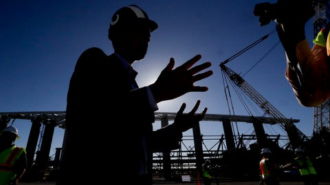 <p>               Los Angeles Rams, COO, Kevin Demoff talks with reporters at the LA Stadium construction site on Tuesday, Sept. 18, 2018, in Inglewood, Calif. The new facility for the Los Angeles Rams and Los Angeles Chargers is tentatively scheduled to be competed for the 2020 NFL football season. (AP Photo/Chris Carlson)             </p>