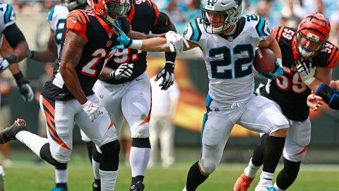 <p>               Carolina Panthers' Christian McCaffrey (22) runs as Cincinnati Bengals' Darqueze Dennard (21) defends during the first half of an NFL football game in Charlotte, N.C., Sunday, Sept. 23, 2018. (AP Photo/Jason E. Miczek)             </p>