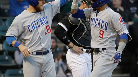 <p>               Chicago Cubs' Javier Baez, right, celebrates with Ben Zobrist after hitting a two-run home run against the Chicago White Sox during the first inning of a baseball game Saturday, Sept. 22, 2018, in Chicago. (AP Photo/Nam Y. Huh)             </p>