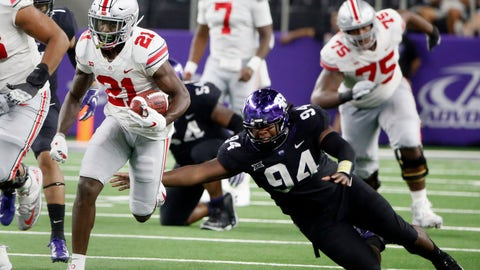 <p>               Ohio State wide receiver Parris Campbell (21) runs for a touchdown as TCU defensive tackle Corey Bethley (94) fails on a tackle attempt during the second half of an NCAA college football game in Arlington, Texas, Saturday, Sept. 15, 2018. (AP Photo/Michael Ainsworth)             </p>