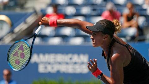 <p>               Naomi Osaka, of Japan, serves to Lesia Tsurenko, of Ukraine, during the quarterfinals of the U.S. Open tennis tournament, Wednesday, Sept. 5, 2018, in New York. (AP Photo/Jason DeCrow)             </p>