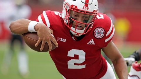 <p>               Nebraska quarterback Adrian Martinez (2) leaps for a touchdown against Colorado during the first half of an NCAA college football game in Lincoln, Neb., Saturday, Sept. 8, 2018. (AP Photo/Nati Harnik)             </p>