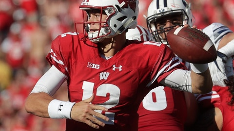 <p>               Wisconsin's Alex Hornibrook throws during the second half of an NCAA college football game against BYU Saturday, Sept. 15, 2018, in Madison, Wis. BYU won 24-21. (AP Photo/Morry Gash)             </p>