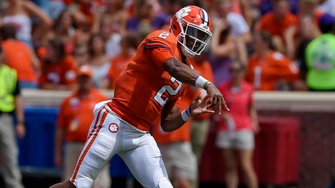<p>               Clemson quarterback Kelly Bryant tosses a pass during the first half of an NCAA college football game against Georgia Southern, Saturday, Sept. 15, 2018, in Clemson, S.C. (AP Photo/Richard Shiro)             </p>