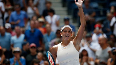 <p>               Madison Keys celebrates after defeating Aleksandra Krunic, of Serbia, during the third round of the U.S. Open tennis tournament, Saturday, Sept. 1, 2018, in New York. (AP Photo/Jason DeCrow)             </p>