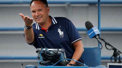 <p>               FILE - In this Aug. 31, 2018, file photo, chair umpire Mohamed Lahyani gives instructions before a doubles match during the U.S. Open tennis tournament, in New York. The chair umpire who climbed out of his seat to talk with Nick Kyrgios during a U.S. Open match has been suspended for two tournaments by the ATP. A statement issued by the men's tour on Tuesday, Sept. 18, 2018, says that Mohamed Lahyani will not officiate at his next two scheduled events, the China Open in Beijing, which starts on Oct. 1, and the Shanghai Masters the following week.(AP Photo/Carolyn Kaster, File)             </p>