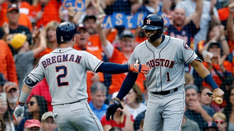 <p>               Houston Astros' Alex Bregman (2) celebrates his solo home run with Carlos Correa (1) during the third inning of a baseball game against the Boston Red Sox in Boston, Saturday, Sept. 8, 2018. (AP Photo/Michael Dwyer)             </p>