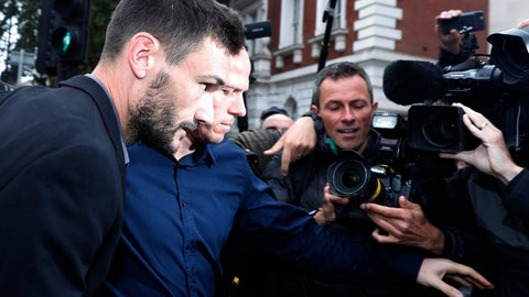 <p>               English soccer team Tottenham Hotspur's French goalkeeper Hugo Lloris arrives at Westminster magistrates court to answer a charge of a drinking and driving offense, in London, Wednesday, Sept. 12, 2018. (AP Photo/Alastair Grant)             </p>