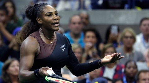 <p>               Serena Williams looks at her box during the women's final of the U.S. Open tennis tournament against Naomi Osaka, of Japan, Saturday, Sept. 8, 2018, in New York. (AP Photo/Julio Cortez)             </p>