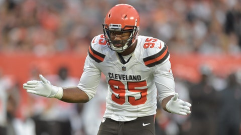 <p>               FILE - In this Aug. 17, 2018, file photo, Cleveland Browns defensive end Myles Garrett (95) reacts while standing on the field during an NFL football preseason game against the Buffalo Bills, in Cleveland. Garrett ran a photo of Steelers quarterback Ben Roethlisberger through a paper shredder for a video spoof during the offseason. On Sunday, Cleveland's dynamic defensive end plans to get his hands on the real Big Ben in the season opener. (AP Photo/David Richard, File)             </p>