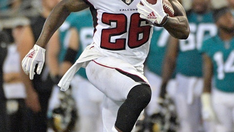 <p>               FILE - In this Aug. 25, 2018, file photo, Atlanta Falcons running back Tevin Coleman runs against the Jacksonville Jaguars during the first half of an NFL preseason football game, in Jacksonville, Fla. The Falcons play against the Carolina Panthers on Sunday, Sept. 16. (AP Photo/Phelan M. Ebenhack, File)             </p>