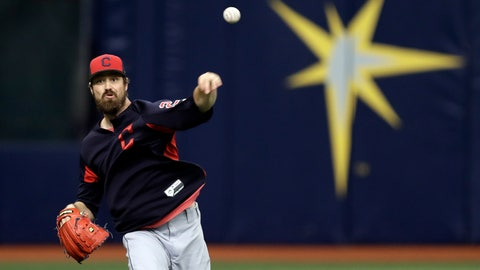 <p>               Cleveland Indians pitcher Andrew Miller throws in the outfield before a baseball game against the Tampa Bay Rays Monday, Sept. 10, 2018, in St. Petersburg, Fla. Miller came off the disabled list before the game. (AP Photo/Chris O'Meara)             </p>