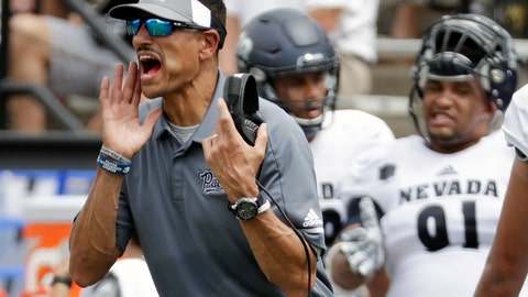 <p>               FILE - In this Sept. 8, 2018, file photo, Nevada head coach Jay Norvell yells to his players in the first half of an NCAA college football game against Vanderbilt in Nashville, Tenn. Nevada is 1-1 overall, with a 72-19 rout at home against FCS-level Portland State in the opener and a 41-10 loss to Vanderbilt last weekend heading into their home gain against Oregon State, Saturday, Sept. 15, 2018. (AP Photo/Mark Humphrey, Fle)             </p>