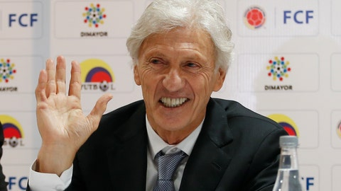<p>               Coach Jose Pekerman waves during a press conference where he announced his resignation as head coach of Colombia's national soccer team in Bogota, Colombia, Tuesday, Sept. 4, 2018. Pekerman led Colombia to the 2014 and 2018 World Cups. (AP Photo/Fernando Vergara)             </p>
