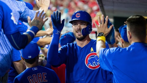 <p>               Chicago Cubs' Kris Bryant, center, is congratulated after scoring on a triple by Kyle Schwarber during the third inning of a baseball game against the Philadelphia Phillies, Saturday, Sept. 1, 2018, in Philadelphia. (AP Photo/Chris Szagola)             </p>