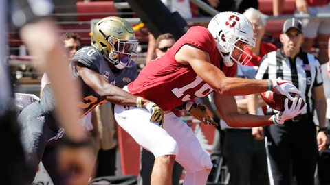 <p>               Stanford wide receiver JJ Arcega-Whiteside (19) catches a touchdown pass over UC Davis defensive back Vincent White (20) in the first half in an NCAA college football game in Stanford, Calif., Saturday, Sept. 15, 2018. (AP Photo/Jim Gensheimer)             </p>
