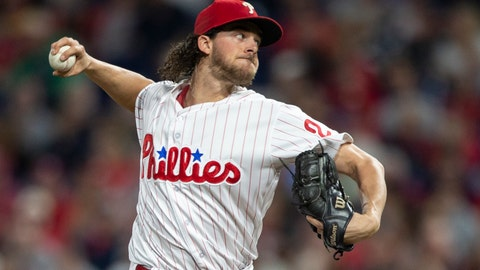 <p>               Philadelphia Phillies starting pitcher Aaron Nola (27) throws in the first inning of a baseball game against the Atlanta Braves, Saturday, Sept. 29, 2018, in Philadelphia. (AP Photo/Laurence Kesterson)             </p>