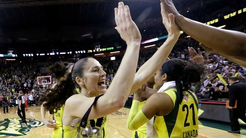 <p>               Seattle Storm's Sue Bird, left, high-five's a teammate as they celebrate after beating the Washington Mystics in Game 2 of the WNBA basketball finals Sunday, Sept. 9, 2018, in Seattle. The Storm won 75-73 and goes to 2-0 in the best-of-five series. (AP Photo/Elaine Thompson)             </p>