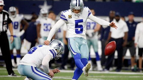 <p>               FILE - In this Dec. 24, 2017, file photo, Dallas Cowboys kicker Dan Bailey (5) kicks a field goal from the hold of Chris Jones during the first half of an NFL football game against the Seattle Seahawks in Arlington, Texas. The Cowboys, on Saturday, Sept. 1, 2018, waived Bailey, the second-most accurate kicker in NFL history, in a surprise move to get their roster to 53 players for the regular season.  (AP Photo/Michael Ainsworth, File)             </p>