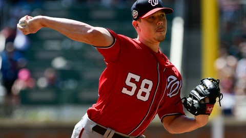 <p>               Washington Nationals' pitcher Jeremy Hellickson pitches against the Atlanta Braves during the first inning of a baseball game, Saturday, Sept. 15, 2018, in Atlanta. (AP Photo/John Amis)             </p>