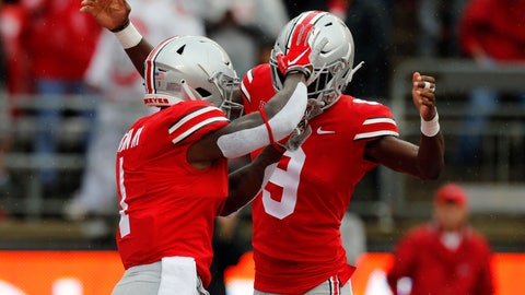 <p>               Ohio State receiver Johnnie Dixon, left, celebrates his touchdown against Rutgers with teammate Binjimen Victor during the first half of an NCAA college football game Saturday, Sept. 8, 2018, in Columbus, Ohio. (AP Photo/Jay LaPrete)             </p>