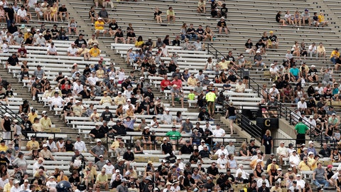 <p>               FILE - In this Saturday, Sept. 8, 2018, file photo, fans sit in the stands at Vanderbilt Stadium during the second half of an NCAA college football game between Vanderbilt and Nevada in Nashville, Tenn. It will be a Virginia home game played on the road when the Cavaliers and Ohio meet at Vanderbilt Stadium on Saturday, in a game that was moved earlier in the week with Hurricane Florence bearing down on the Mid-Atlantic Region. (AP Photo/Mark Humphrey, File)             </p>