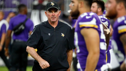 <p>               FILE - In this Friday, Aug. 24, 2018 file photo, Minnesota Vikings head coach Mike Zimmer greets his players before an NFL preseason football game against the Seattle Seahawks in Minneapolis. In the three days since their last game, the Minnesota Vikings have made upgrades at kicker, wide receiver and defensive tackle, further underscoring their determination to reach the Super Bowl. (AP Photo/Bruce Kluckhohn, File)             </p>