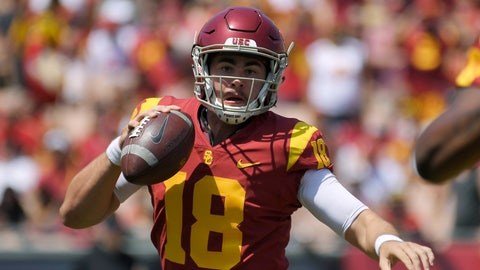 <p>               FILE - In this Sept. 1, 2018, file photo, Southern California quarterback Jt Daniels scrambles with the ball during the first half of an NCAA college football game against UNLV in Los Angeles. Daniels realizes he occasionally struggled in his second start for No. 22 Southern California, and the freshman quarterback has resolved to fix his mistakes swiftly, even with a bruised hand. He knows time is a factor with a perilous trip to Texas looming this weekend.  (AP Photo/Mark J. Terrill, File)             </p>