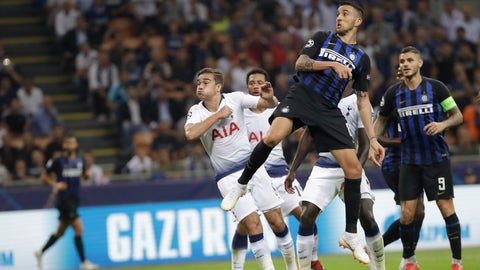 <p>               Inter Milan's Matias Vecino scores the second goal during the Champions League, group B soccer match between Inter Milan and Tottenham Hotspur, at the Milan San Siro Stadium, Italy, Tuesday, Sept. 18, 2018. (AP Photo/Luca Bruno)             </p>