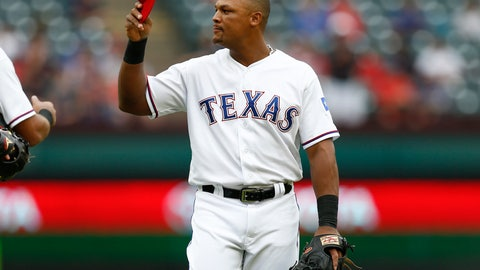 <p>               Texas Rangers' Adrian Beltre tips his cap to the Seattle Mariners bench after being relieved at third base during the sixth inning of a baseball game, Sunday, Sept. 23, 2018, in Arlington, Texas. (AP Photo/Jim Cowsert)             </p>