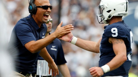 <p>               FILE - In this Sept. 1, 2018, file photo, Penn State head coach James Franklin, left, congratulates quarterback Trace McSorley (9) after scoring against Appalachian State during the first half of an NCAA college football game in State College, Pa. Penn State plays Pitt at Heinz Field on Saturday and it will be the 99th in a series that dates back to 1893. It's also the last in Pittsburgh for the foreseeable future between the Panthers (1-0) and the Nittany Lions (1-0). There are no plans for the teams to play past next year's centennial showdown at Beaver Stadium, a byproduct of the tricky scheduling of big-time college football. (AP Photo/Chris Knight, File)             </p>