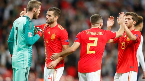 <p>               Spain goalkeeper David de Gea, Nacho Fernandez, Dani Carvajal and Sergi Roberto, from left to right, celebrate at the end of the UEFA Nations League soccer match between England and Spain at Wembley stadium in London, Saturday Sept. 8, 2018. Spain won 2-1. (AP Photo/Frank Augstein)             </p>