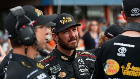 <p>               FILE - In this Aug. 10, 2018, file photo, Martin Truex Jr. watches times during qualifications for a NASCAR Cup Series auto race at Michigan International Speedway in Brooklyn, Mich. Truex begins his quest to repeat as NASCAR's champion at the playoff opener this weekend in Vegas. (AP Photo/Paul Sancya)             </p>