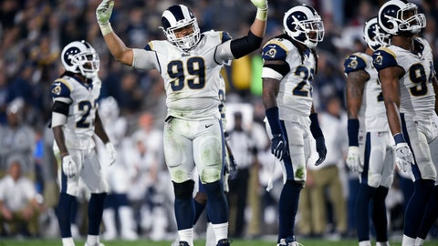 <p>               FILE - In this Jan. 6, 2018, file photo, Los Angeles Rams defensive tackle Aaron Donald (99) cheers on the crowd during the first half of the team'sNFL football wild-card playoff game against the Atlanta Falcons in Los Angeles. Donald, Ndamukong Suh and fellow starting defensive lineman Michael Brockers are together in practice for the first time this week while the Rams prepare for their season-opening trip to Oakland on Monday night. New Rams cornerbacks Marcus Peters and Aqib Talib also are eager to get on the field after barely playing in the preseason to see if this defense can live up to its enormous potential. (AP Photo/Kelvin Kuo, File)             </p>